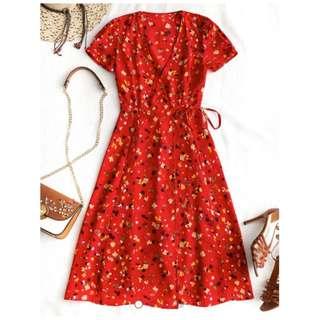 Zaful Red Wrap Midi Dress