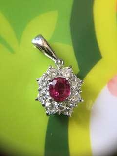 🛑💠 紅寶石+天然鑽石 吊墜 吊咀 💠🛑