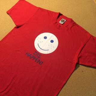Vintage Red Smiley Print Cotton Tee L