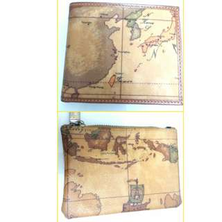 Alviero Martini genuine leather purse + wallet 地圖真皮散紙包連銀包