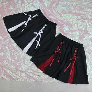 綁帶拼色造型短裙