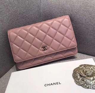 Chanel Wallet on Chain in Pink Lambskin