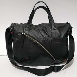 Tough Jeansmith Genuine Black Soft Leather Shoulder Bag (Unisex)