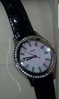 Mint condition guess watch with diamante and leather strap