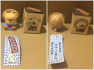 ** 分享 ** Sanrio Pokopon's 浣熊日記 1989 年 陶瓷人形風鈴 (2.5 吋高) (Made in Japan)
