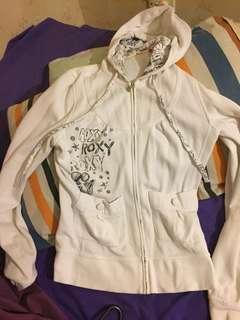 Roxy white zip up hoodie jacket