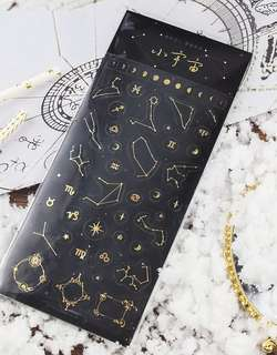 Galaxy Symbols Gold Foil Scrapbook / Planner Stickers #139