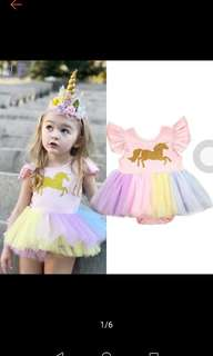 Fashion baby girls Unicorn lace tutu romper dress outfits costume dreses