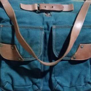 Benetton Denim Hobo Bag with Leather strap
