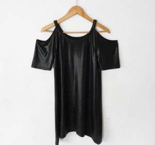 Black silky off shoulder dress