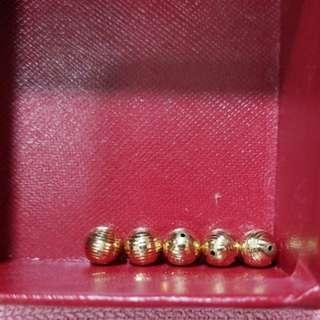 18 K 黃金珠五粒