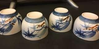 80年代日本製造青花手繪茶杯