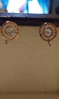 銅色黄鑽耳環