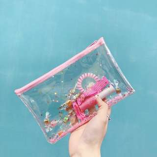pink glitter pencil case/pouch