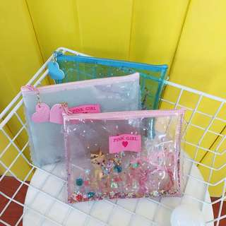 glitter pencil case / make up pouch