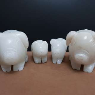 Marble Pig Family Sculpture
