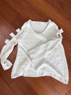 🚚 秋冬針織毛衣-手臂特別設計(米白)