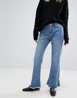 Vera Moda Ruffled End Hem Bootleg Flare Jeans
