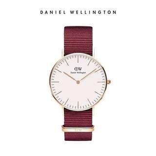Daniel Wellington Watch DW 36mm white rose gold Roselyn maroon red NATO