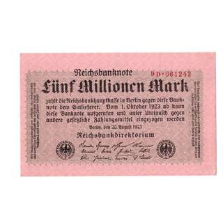 1923 German Five Million Mark Banknote