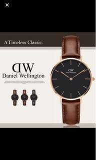 Daniel Wellington 32mm classic black petite rose gold st maves brown leather