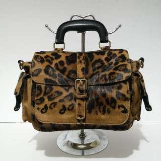 Rabeanco Leopard Print Ponyhair and Leather Mini Satchel Bag