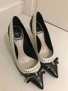 Christian Dior black and white leather high heels