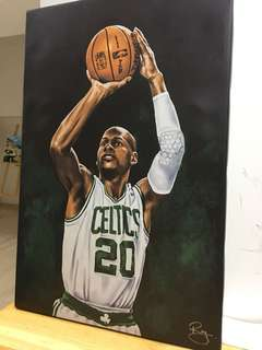 Ray Allen Boston Celtics 油畫 複製掛畫 Ray gun