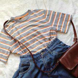 Gray, Orange, White Shirt