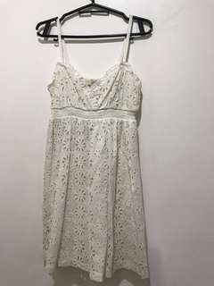 Forever21 White Eyelet Mini Dress