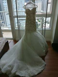 Von Lazaro Custom Made Swarovski Lace wedding gown