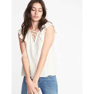 Old Navy flutter lace up top
