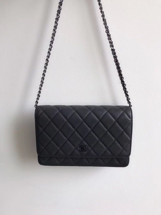 03332fa4c690 Chanel So Black WOC Wallet On Chain Quilted Aged Leather with Black  Metallic Hardware