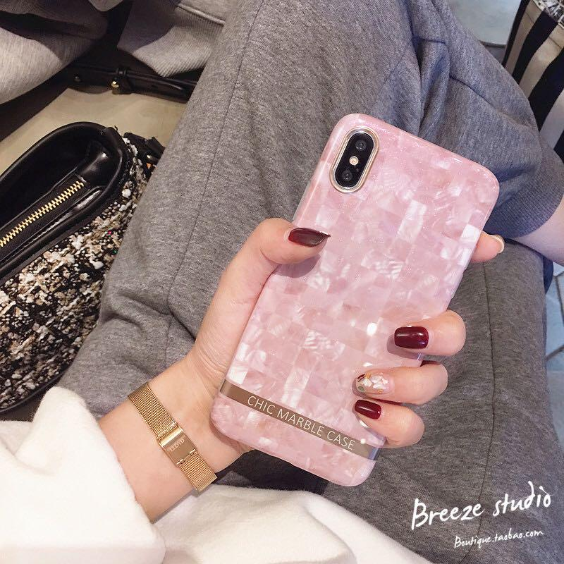 Chic pink marble iPhone Case
