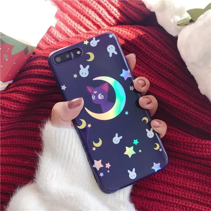 big sale 8934a 6d22f Cute Purple Cat Sailor Moon iPhone X Case iPhone 8 7 6 Plus Moon Light