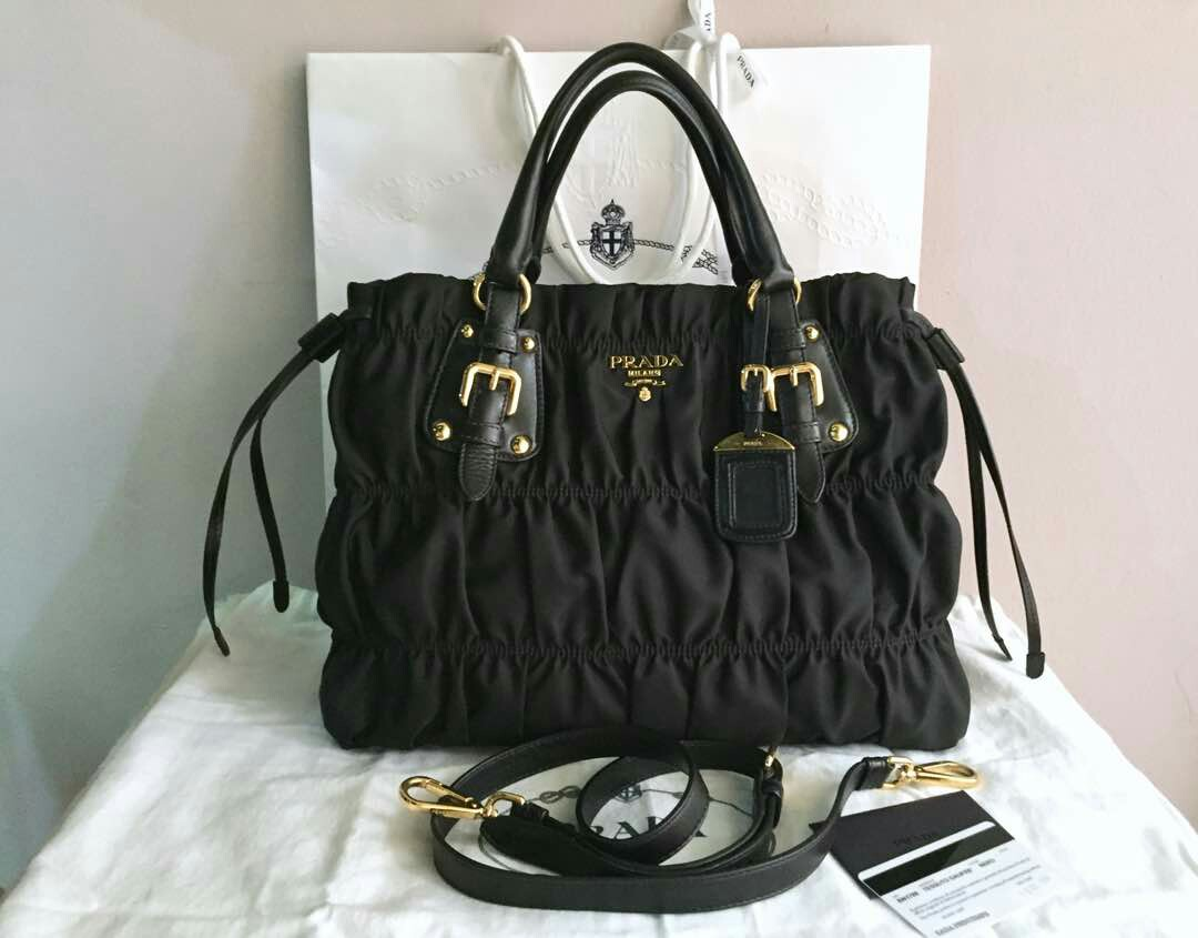 3c91fd95784100 ... switzerland authentic prada bn1788 gaufre tessuto nylon bag black  luxury bags cdd20 3cd31 ...