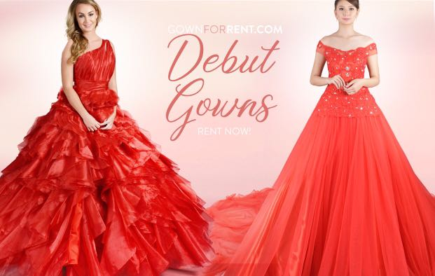 Red ball gown for debut for rent, Women\'s Fashion, Shoes on Carousell