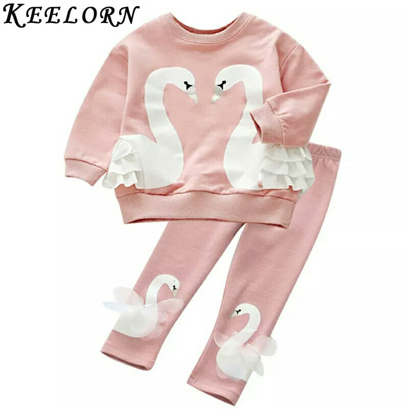 9765cdf7 Set Girls Clothing Sets Autumn Fashion Style Kids Clothes Swan Lace ...