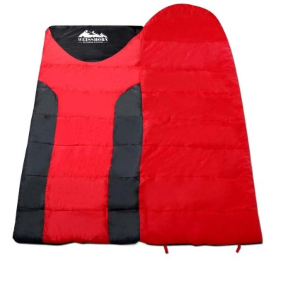 Single Thermal Sleeping Bag - Blue & Black and Red & Black