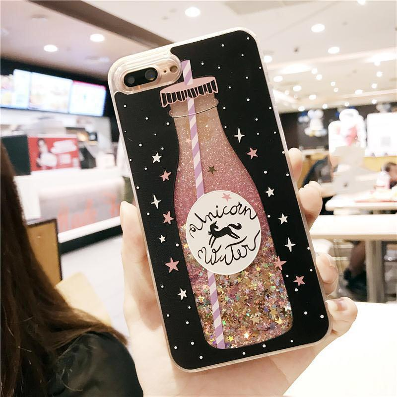 🔥Silicon Glitter Drink iPhone Case