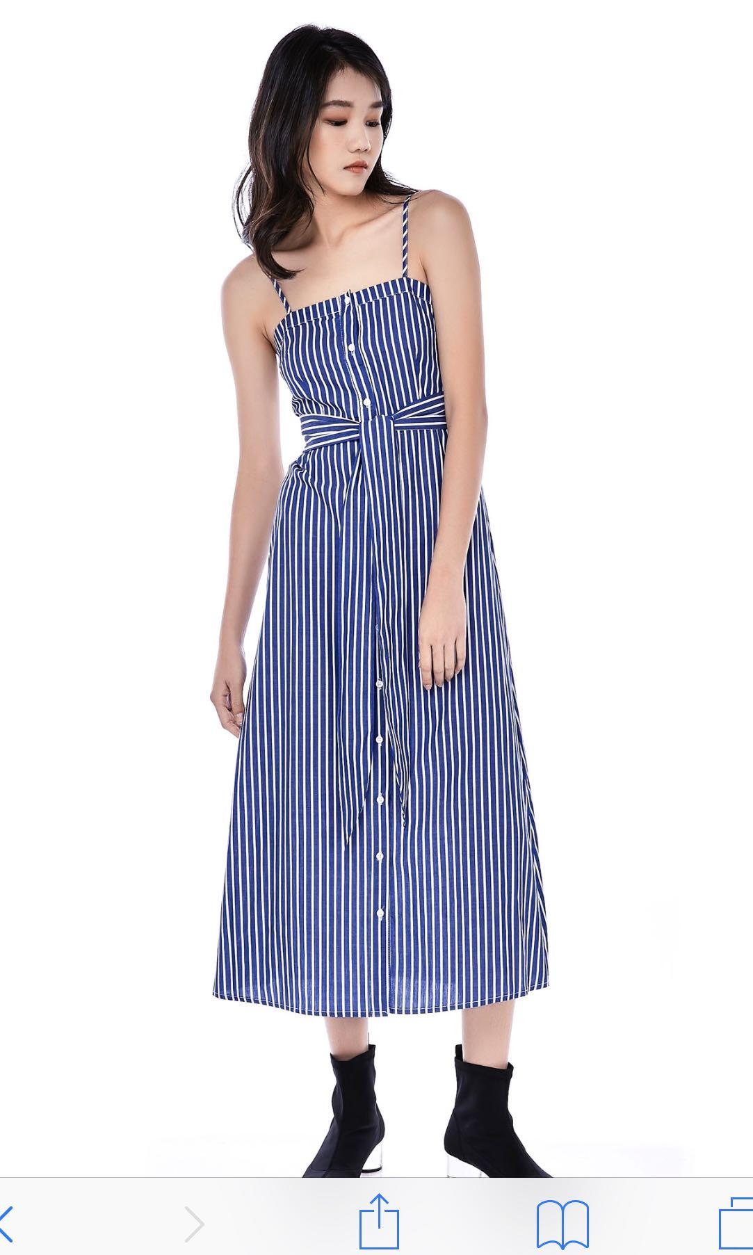 72001fa9d37 TEM Aries Button-Down dress in blue stripes