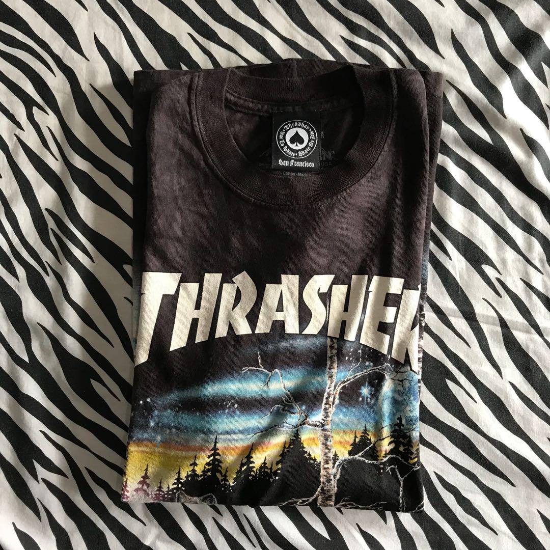 a746c73ada00 Thrasher x the mountain 13 wolves black tie dye tshirt