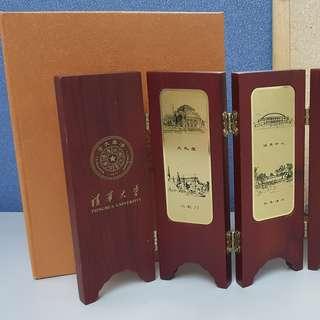 清華大學實木小屏風裝飾品