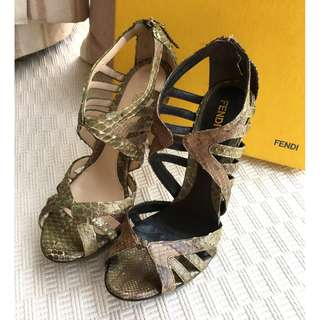 Fendi  python leather heel sandals shoes  **Made in Italy  **Size 37 ..