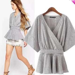 Free NM - Striped Wrap Kimono Blouse