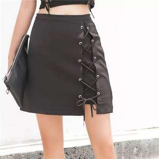 🚚 【黑店】個性百搭高腰綁帶A字裙 自由調整綁帶高腰裙 個性穿搭 暗黑系短裙 基本款個性短裙