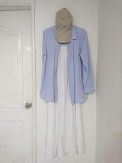🚚 文藝 細肩帶 純白 連身裙