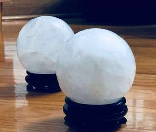 天然白水晶球(連座)
