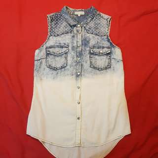 Cache Cache Washed Out Acid Denim Sleeveless Top