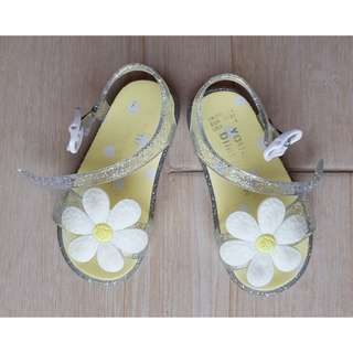 Floral and Glitter Jelly Sandals